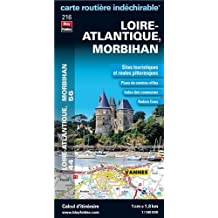 Loire-Atlantique (44), Morbihan (56) - Carte Routière Départementale Touristique D216 - Echelle : 1/180 000, avec index. Plan du centre-ville de Nantes, Saint-Nazaire et Vannes.