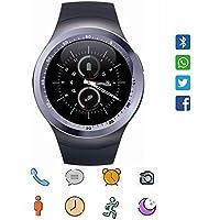 Reloj inteligente CanMixs Y1 Bluetooth Smart Watch Tarjeta Micro SIM con Pantalla Táctil Redonda, podómetro, monitoreo de sueño, mensaje, calendario, llamada y recordatorio sedentario para iPhone, Android, Samsung, Huawei, MI, HTC(plata)