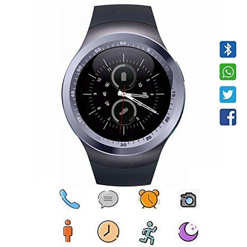 Smart Watch für Android, CoolFoxx Y1 Bluetooth Smartwatch Touchscreen Handyuhr mit SIM & TF Card Slot, Schrittzähler, Schlaf Moniter, SMS, Sitzende Erinnerung für iPhone, Samsung, Huawei Iphone 6-instant Kamera