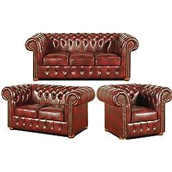 Casa Padrino Chesterfield sala de estar conjunto borgoña - lujosos muebles de cuero genuino