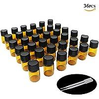 Un billón de y # xFF0C; 2ml ámbar muestra de botellas de cristal para aceite esencial con reductor de orificio, y negro tapa, (Pack de 36)