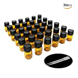 One Trillion, 1ml Sample Amber doors Glass Bottles with Reducers Orifice and Achat de Black for Essential Oils, Colognes & Chemistry Lab, Perfumes, and Le 2 Droppers Free ( 36 pack)
