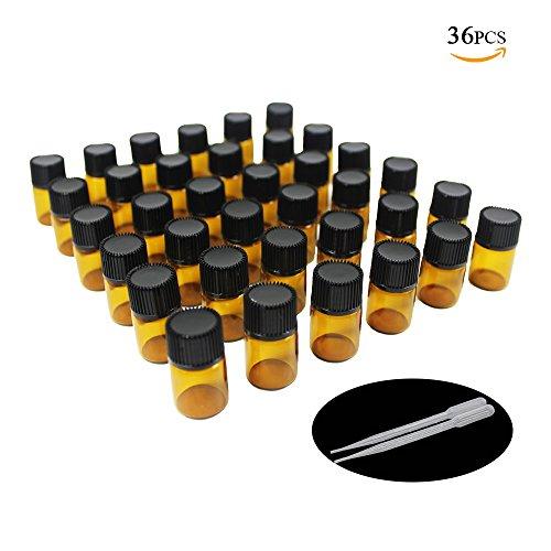 One Trillion,36 PCs -2ml Amber Probe Glasflaschen / Fläschchen mit Orifice Reducers und schwarzen Kappen für ätherische Öle, Chemielabor, Kölnisch Wasser & Parfums, und 2 Kunststoff Pipetten Pipette