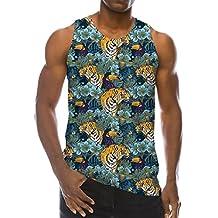 f85791e0cde32 Goodstoworld Divertido 3D Camiseta Sin Mangas Hombre Rock Impresión Chaleco Gym  Camisetas Tirantes para Hombres S