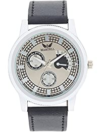 Martell - Doran Series Round Grey Dial Leather Strap Analog Watch For Men/Boys