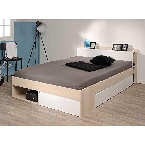 Pharao24 Bett mit Stauraum Akazie Weiß Breite 150 cm Liegefläche 140x200