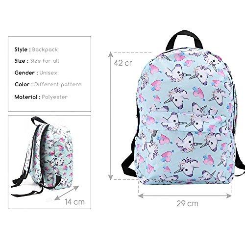 Smallbox 2018 cute mode kawaii 3D impression bleu amour Licorne modèle filles sac à dos pour gymnase école de voyage (Pack de 5)