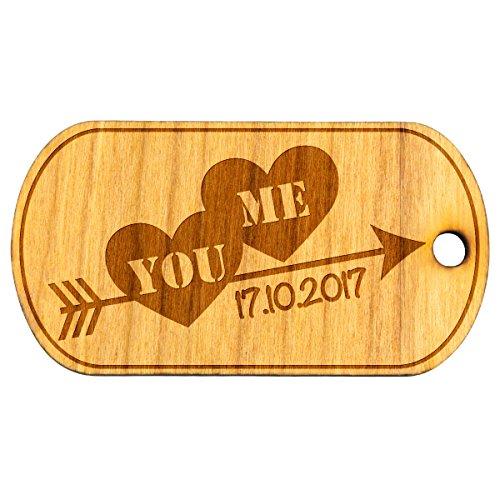Llavero Madera Natural Colgante enamorador (Texto a elegir parche con fecha regalo aprox. 32x 60mm