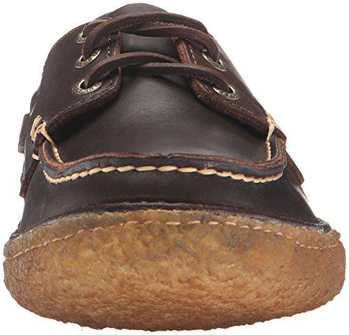 Sebago Mens Ronan Three Eye Boat Shoe Dark Brown Leather