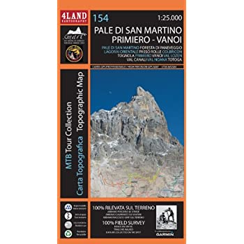 Pale Di San Martino. Carta Escursionistica 1:25.000. Ediz. Italiana, Inglese E Tedesca
