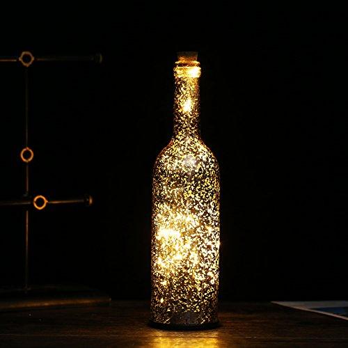 he Leichte mit Kork Akku String Lampe Glas Flasche Nightlights für Weihnachten Halloween Party Hochzeit Dekorationen Gold - Warm White (Einfach Zu Hause Machen Halloween Dekoration)
