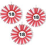 3x Honigwaben Deko * VERKEHRSSCHILD 18 * zum Geburtstag und Party | Verkehrszeichen Dekoration mit Ø 25cm | Alle lieben diese rot-weißen Honeycomb Schilder