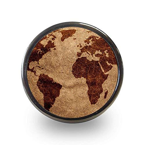 Vintage Dark brown world map cupboard door knob drawer pull cabinet handle grasp atlas aged effect by Pushka Knobs -