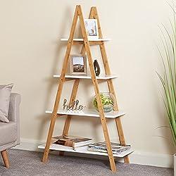 Hartleys Bibliothèque Echelle Blanche et Bambou à 4 Niveaux
