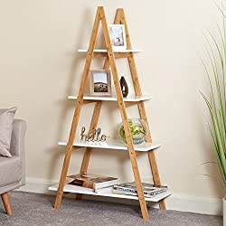 Hartleys White & Bamboo 4 Tier Ladder Bookcase