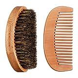 Juego de Peine Cepillo de Barba para Cuidado de Hombres, Cepillo de Cerda de Jabalí Duro Medium Largo 360 Ondas con Peine de Mango de Madera de Haya para Hogar y Viaje