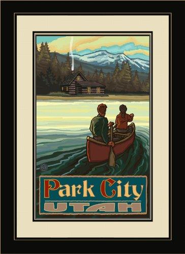 Northwest Art Mall PAL-0210 FGDM LKCM Park City Utah Lake Canoers Mountains Kunstdruck, gerahmt, von Paul A. Lanquist, 40,6 x 55,9 cm