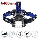 zknen® Stirnlampe LED, 6400mAh USB Wiederaufladbare Stirnlampe Kopflampe Wasserdicht Leichtgewichts für Laufen...