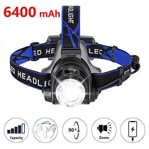 zknen® Stirnlampe LED, 6400mAh USB Wiederaufladbare Stirnlampe Kopflampe Wasserdicht Leichtgewichts für Laufen Jogging Lila Reparieren mit 2 Stück 18650 Akkus