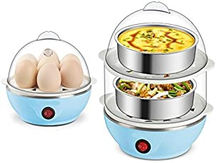 Two Layer Egg Boiler Egg Cooker Egg Steamer with Measuring Cup & Steel Bowl