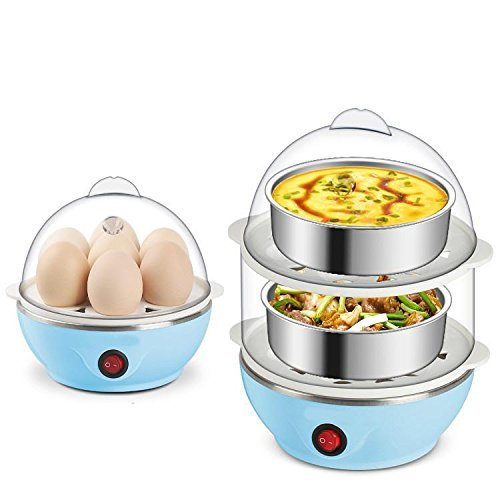 Multi-Function Double Layer 14 Eggs Electric Egg Boiler Cooker Food Steamer with Measuring Cup & Steel Bowl - Assorted Color