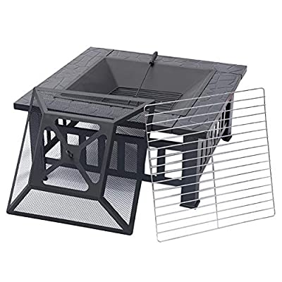 Xemqener Outdoor Fire Pit With Bbq Grill Shelf For Garden And Patio Outdoor Metal Brazier Square Table Firepit Garden Patio Heaterbbqice Pit 3 In 1 Fire Pit Square Table Grill by XEMQENER