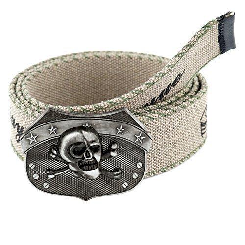 Cintura in stoffa per uomini e donne Cintura In Tessuto Jeans Vintage Fibbia cintura extra forte cintura (15 Colori 20 Modelli) G102 - Deadhead, Sabbia
