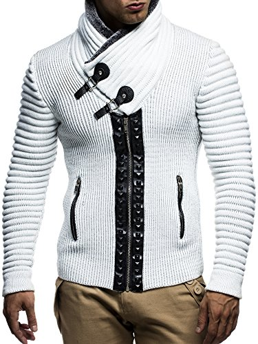 LEIF NELSON Herren Strickjacke Jacke Pullover Hoodie mit Nieten Sweatshirt Biker-Style Gesteppt LN5165; Grš§e XXL, Ecru-Grau (Gesteppte Strickjacke)