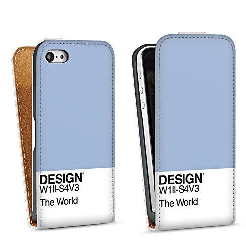Apple iPhone 5 Housse Outdoor Étui militaire Coque Pantone Pastel Bleu Sac Downflip blanc