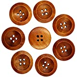 Generic Wooden Round Buttons With 4 Holes (Coffee, 50-Pieces)