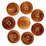 #2: Wooden Round Buttons with 4 Holes (Coffee, 50-Pieces)