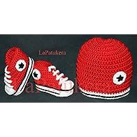 Babyschuhe Häkeln Unisex Stil Converse Farbe Rot Aus 100