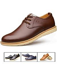AMAPO 2017 Los zapatos de vestido de cuero de la PU del dedo del pie redondo de los nuevos hombres de la manera atan para arriba el negocio calzan los zapatos de trabajo ocasionales para los hombres
