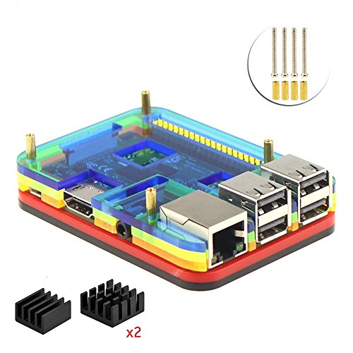 Price comparison product image 5 Layers Case with Heatsink for Raspberry Pi 3 Model B (rainbow)