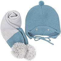 pompones de pelo para gorros y bufandas, Sannysis gorro y bufanda bebe conjunto de bufanda de sombreros de punto de invierno gorra con pelota hecha punto niños niñas collar pañuelos (Azul)