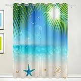 Luxus-Vorhang, 2Kammern tropischen Meer Strand Seestern Thermo-Drucker mit Blackout Polyester Stoff Zuhause, mit Ösen für Schlafzimmer Wohnzimmer, Badezimmer, Küche 55x 84cm