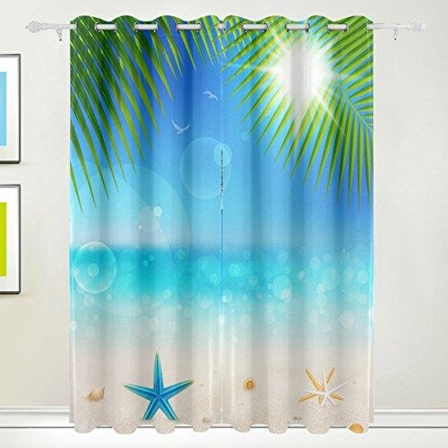 Luxus-Vorhang, 2Kammern tropischen Meer Strand Seestern Thermo-Drucker mit Blackout Polyester Stoff Zuhause, mit Ösen für Schlafzimmer Wohnzimmer, Badezimmer, Küche 55x - Meer Duschvorhang-sets
