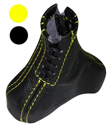 Aerzetix - Aerzetix Schaltsack Schwarze Farbe 100% Echtes Leder, Schaltsack Nähten (Gelb)