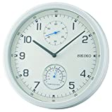 Seiko Runde Quarz-Wanduhr mit weißem Zifferblatt, arabische Zahlen und Temperaturanzeige, QXA542W