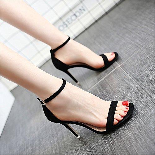 Hxvu56546 la nuova estate sandali ripartiti per professione con la alta scarpe tacco 34 nero