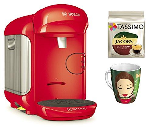 Bosch TASSIMO Vivy 2 Bundle + Ritzenhoff Sammelbecher 14. Edition + TDisc Caffe Crema classico (Rot)