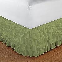 800TC 100% cotone egiziano di alta qualità elegante finitura 1pcs multi Ruffle Giroletto solido (goccia lunghezza: 13cm), Cotone, Sage Solid, EU_Single