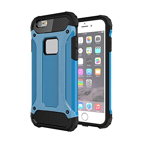 iPhone 6S Plus& 6 Plus Custodia, 2-in-1 Cases Protettivo Estrema Assorbimento-Urti Armatura Cover Per iPhone 6S Plus& 6 Plus. (Nero) Blu