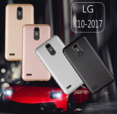 YHUISEN LG K10 2017 Case, Slim Carbon Fiber Gummi Soft TPU Hybrid Shockproof Gehäuse Cover für LG K10 2017 ( Color : Rose Gold ) Silver