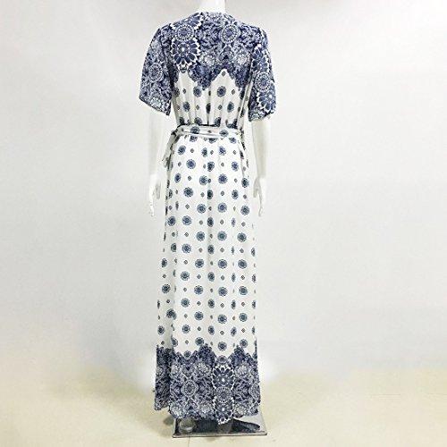 QIYUN.Z Les Femmes V-Cou Empire Bohème Empire Taille Robe Sundress Maxi Envelopper Couvrir Bleu Et Blanc