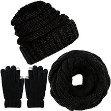 Aneco Winter Warm Echarpe Tricotée Bonnet Bonnet et Gants Ensemble Hommes    Femmes Soft Stretch Hat 3f857db3108