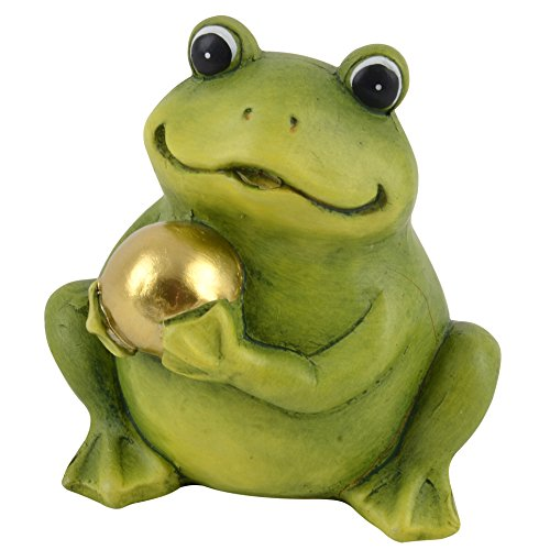 Frosch mit Kugel Deko Figur Keramik grün Dekoration Trend Garten (11x11x9cm)