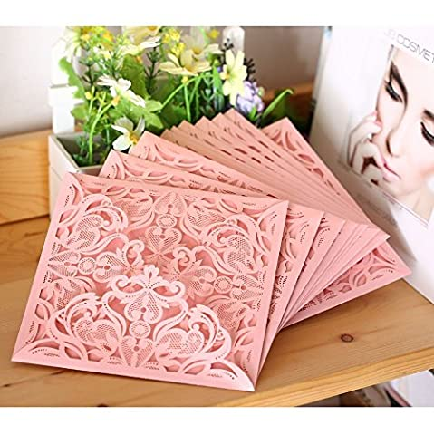 PONATIA 25 Pack Set Laser Cut Invitation Cards for Wedding Anniversary Bridal Shower Birthday with Printable Paper and Envelopes (Pink)