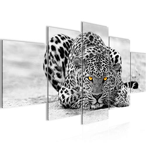 Runa Art Bilder Afrika Leopard Wandbild 200 x 100 cm Vlies - Leinwand Bild XXL Format Wandbilder Wohnzimmer Wohnung Deko Kunstdrucke Grau 5 Teilig - Made IN Germany - Fertig zum Aufhängen 000351a -