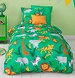 Aminata Kids Bunte Bettwäsche á 100x135 cm Kinder Mädchen Jungen Tiere Zootiere Baumwolle + Reißverschluss Kinderbettwäsche Grün Dschungel Löwe Tiger Elefant Zebra Giraffe Bettwäscheset Bettbezug